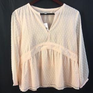 LOFT Sheer Lined Blouse Top Shirt XS Embellished